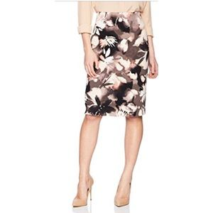 Ellen Tracy Painted Blooms Pencil Skirt